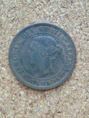 Queen Victoria Canada 1887 One 1 Cent Cents Coin