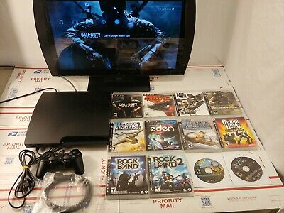 Sony PS3 Slim 160GB Console Bundle (CECH-3001A) W/12 Games Tested Cleaned!