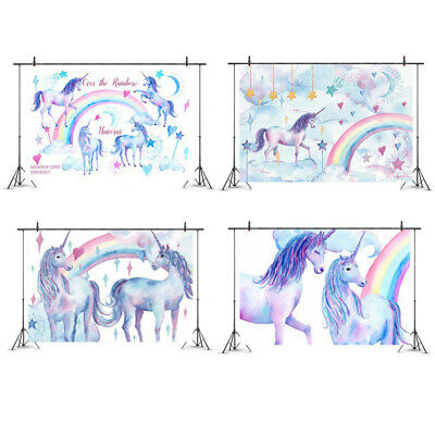 Unicorn Photography Backdrop Photo Background Props Kids Baby Birthday 3x5ft wcl