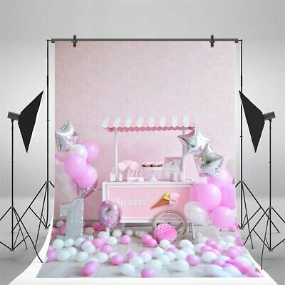 Pink Birthday Theme Photography Background Backdrop Photo Wall Balloon DIY #root