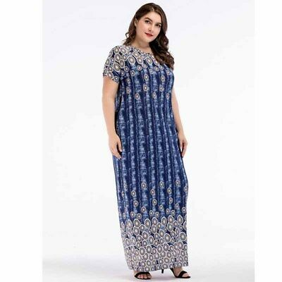 Women Plus Size Loose Dress Floral Party Short Sleeve Causal Long Skirt