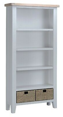 Hartwell Grey Large Wide Bookcase / Painted Tall Shelving Unit / Bookshelf