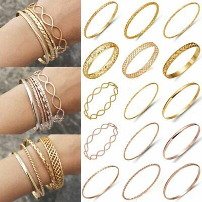 Women Gold/Rose Gold Simple Bracelet Hollow Carved Flower Bangle Wedding Jewelry