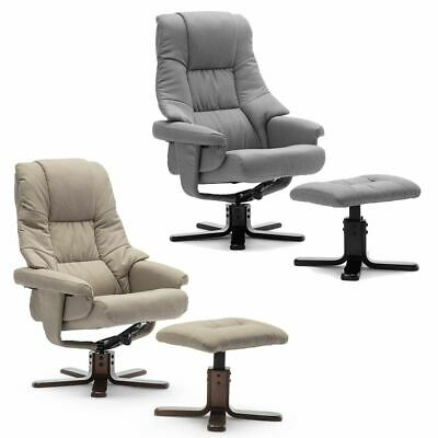 SORENTO SWIVEL RECLINER LINEN FABRIC CHAIR w FOOT STOOL ARMCHAIR