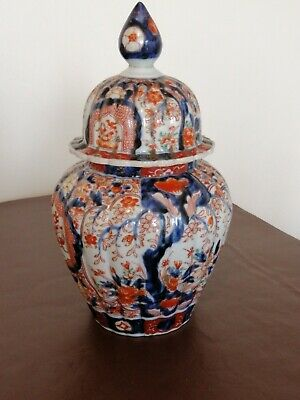 Antique Oriental Imari Fluted Porcelain Temple Jar and Lid