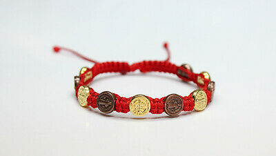 St Benedict Gold and Bronze Color Metal Medal Red Cord Bracelet Saint Benedict