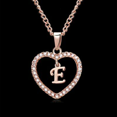 Fashion Crystal Initial Alphabet Letter E Love Heart Pendant Chain Necklace Hot