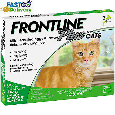 Frontline Plus For Cats 3 Doses / 3 Month Supply Flea & Tick Control