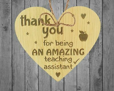 Amazing Teacher Teaching Assistant Leaving Gift Wooden Heart Plaque Thank You