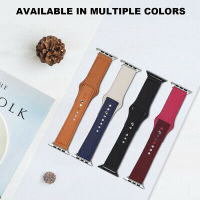 Replacement Genuine Leather Wrist Sport Band Strap For Apple Watch Series 4/3/2