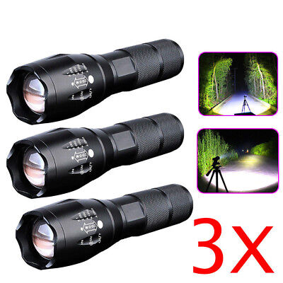3 x Tactical 18650 Flashlight T6 High Powered 5 Modes Zoomable Aluminum Torch US