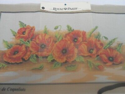 "Royal Paris ""Gerbes de Coqueliots/Spray of Poppies""Printed Tapestry Canvas only"