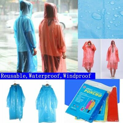 5X Emergency Waterproof Poncho Plastic Coloured Hooded Coat Festival Camping Uk