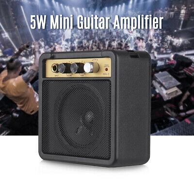 Mini Guitar Amplifier Speaker 5W 6.35mm Input Supports Tone Overdrive Adjustment