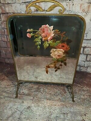Vintage Antique Art Nouveau Mirrored Brass Fire Guard Screen Hand Painted Roses