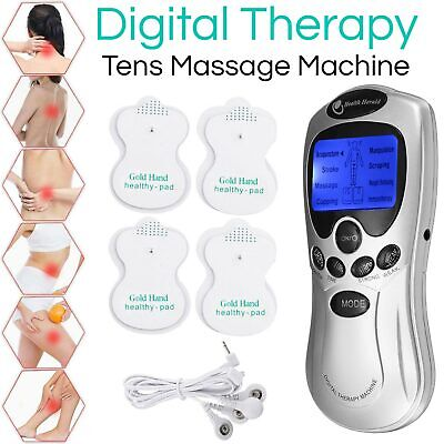 Digital TENS Machines Therapy Full Body Massager Vibration Pain Relief W/ 4 Pads