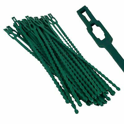 50x GARDEN CABLE PLANT TIES GREEN RE-USEABLE MULTI PURPOSE GREENHOUSE UK SELLER