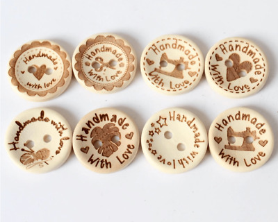 "Decorative Wooden Buttons 20mm ""Handmade with love"" multi pack of 8"