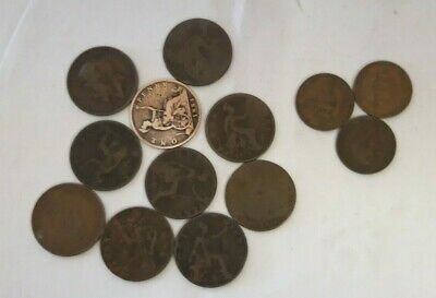 Collection of 13 Large Old One Penny & Half Penny Coins from 1874-1965