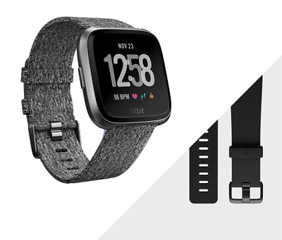NEW! FITBIT VERSA Special Edition (Charcoal with Woven Band) Smart Fitness Watch
