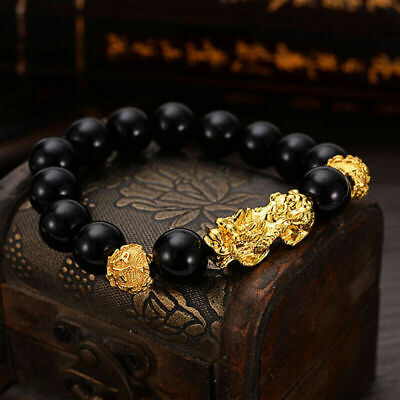 Shui Jewelry Bead Golden Charms Bracelet with Wealth Feng Pixiu Alloy Black