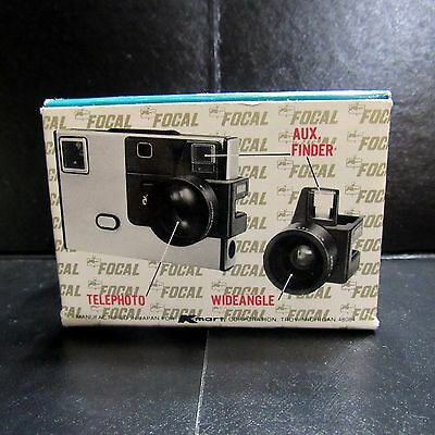Focal Auxiliary Lens Set For Kodak Disc Cameras Telephoto Wide Angle in Box