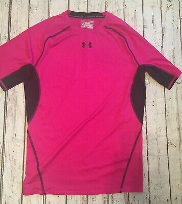 Under Armour Womens Size XL Compression Heat Gear Pink/black Short Sleeve