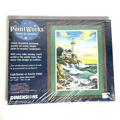 "Dimensions Paint Works Paint By Number Lighthouse at Rocky Point 14"" x 20"" 2000"