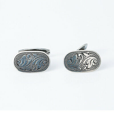 Vintage Filigree Hand Engrave 835 Silver Cuff Links 10.8 Grams Men's