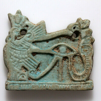 Scarce-Circa 1900 Bc Egyptian Faience Plaque Ornament Pendant Eye Of Horus & Ba