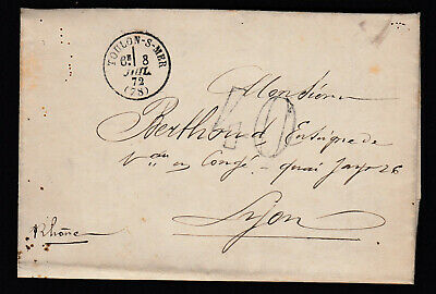 Toulon Var Taxe 40 Port De Toulon Major General Marine Lyon 1872 Lettre Cover