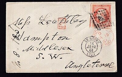 N°16 Pc Le Havre Hampton Angleterre 1861 Lettre Cover France