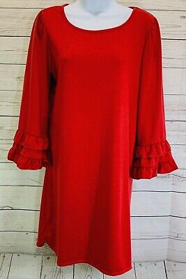 Max Studio Women's Red Solid Shift Dress Ruffle Detailed Bell Sleeves Size Small