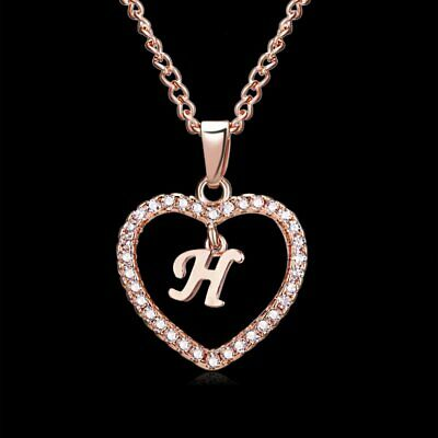 Fashion Crystal Initial Alphabet Letter H Love Heart Pendant Chain Necklace Hot