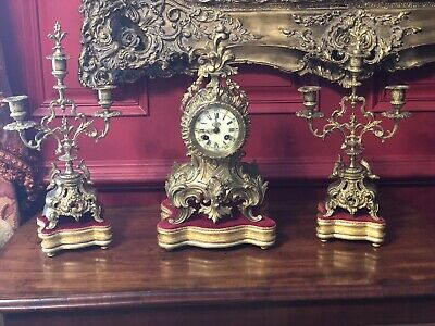 REPRODUCTION  Antique Gilt French Mantle Clock And Candelabra Bases/ Stands ONLY