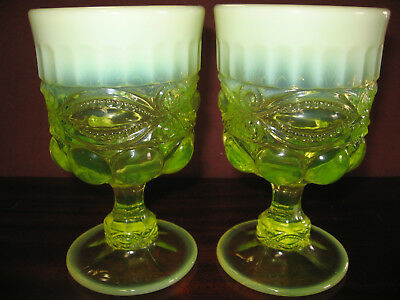 pair of Vaseline opalescent glass tumblers cups goblets uranium eyewinker yellow
