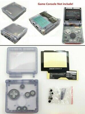 GBA SP Game Boy Advance SP Replacement Housing Shell Transparent Clear Glacier!