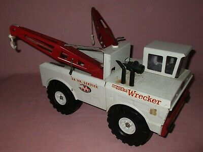 Vintage Tonka Mighty Wrecker Pressed Steel Toy Tow Truck Double Boom #3915 1969