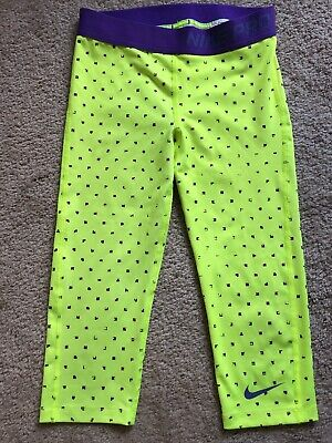 Girls Nike Pro Leggings Size M Dri Fit Cropped Capri Back To School EUC