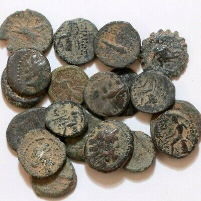 NICE LOT OF 20 ANCIENT GREEK BRONZE COINS ABOUT 15-17mm Circa 100 BC