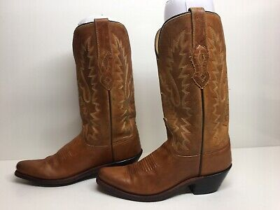 Vtg Young Womens Old West Snip Toe Cowboy Brown Boots Size 5