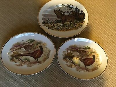 2 X Liverpool Road Pottery Oval Pheasant Plate Plus Oval Stag Plate BRAINTREE