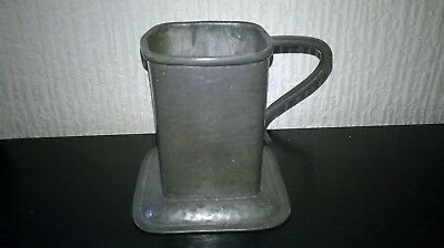 VINTAGE PEWTER TANKARD UNUSUAL SHAPE. APPROX. 3 1/2 ins.TALL. NO. 9 OR 6 ON BASE
