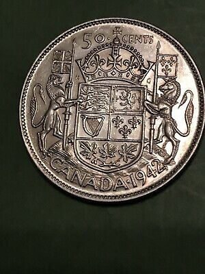 1942 Canada Silver Half Dollar Silver Fifty Cent Piece Look King George