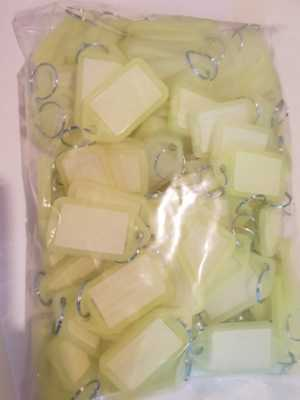 100 Key Tags With Ring Neon Yellow To Write On, Luggage Tag