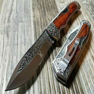 "9"" Wood Handle Folding Camping Outdoor Pocket Knife 3CR13 Steel Engraved Design"