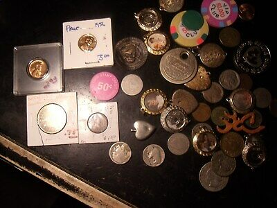 JUNK LOT: BUFFALO-LIBERTY NICKELS-MEDALS-TOKENS MAVERICKS 43 Items 9.5 OZ