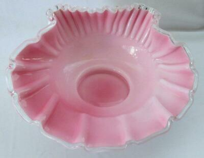 Fenton Vintage Peach Crest (Pink Overlay) Shell Shaped Bowl ~ Prelogo