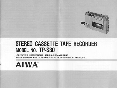 Original Owners Manual for AIWA TP-S30 Cassette Tape Recorder