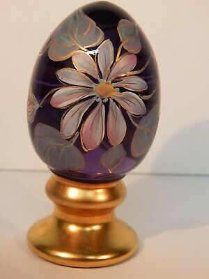 Fenton Glass Hand-Painted Purple/Amethyst Egg Signed H C Grifiths 98/2500
